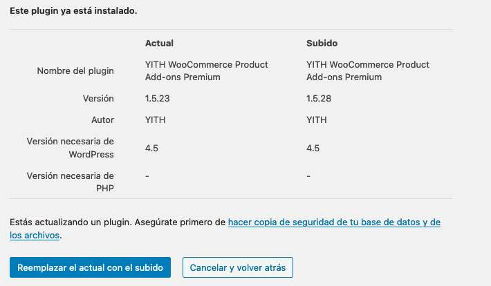 Actualizar plugin instalado en WordPress